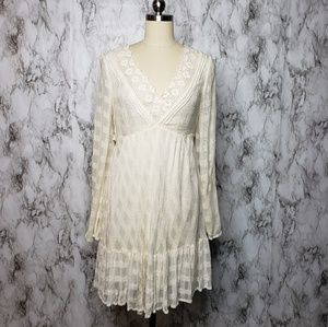 Free People boho chic cream open back dress Size S